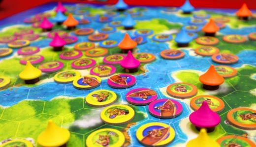 【ゲーム紹介】ブルーラグーン (Blue Lagoon)|8つの島々を舞台に部族の生活圏を広げるライナー・クニツィアの陣取りゲーム!